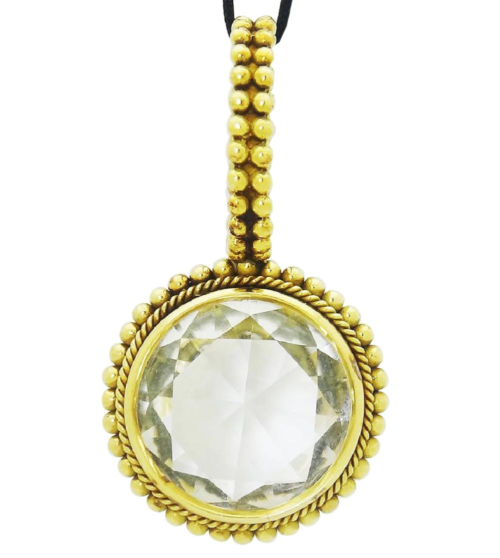 Stephen Dweck 18k  Gold Clear Quartz Large Pendant
