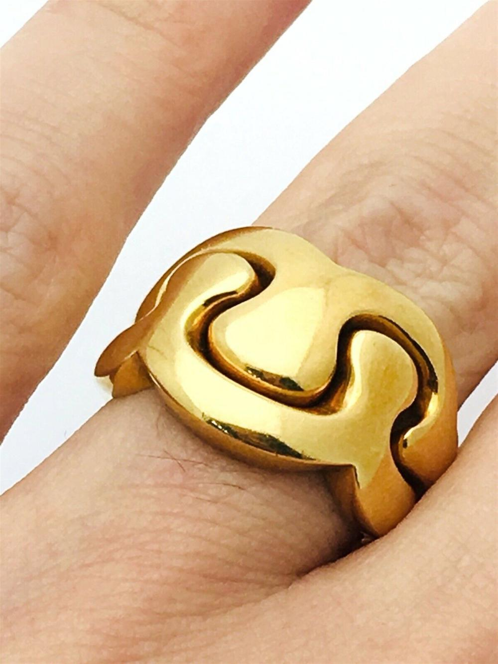 Van Cleef And Arpels 18k Yellow Gold Double Ring Sz 6