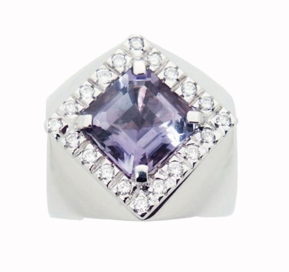 Giovanni Ferraris 18k Gold .60ct Diamond Amethyst Ring