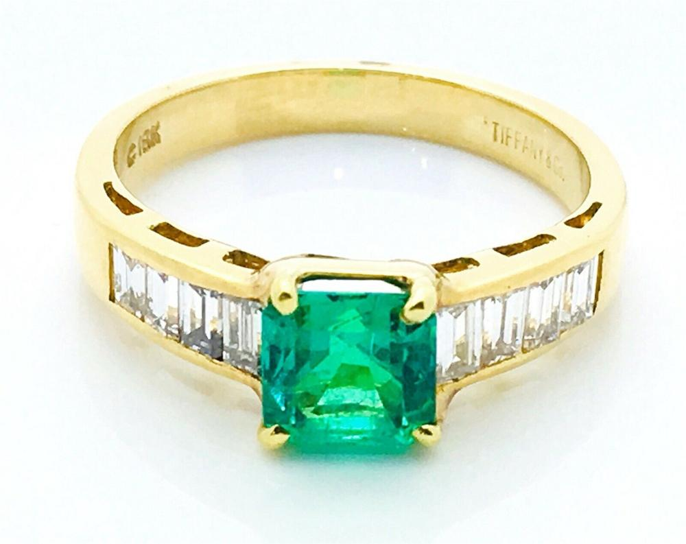 Tiffany & Co. 18k Yellow .90ct Emerald .50 Diamond Ring