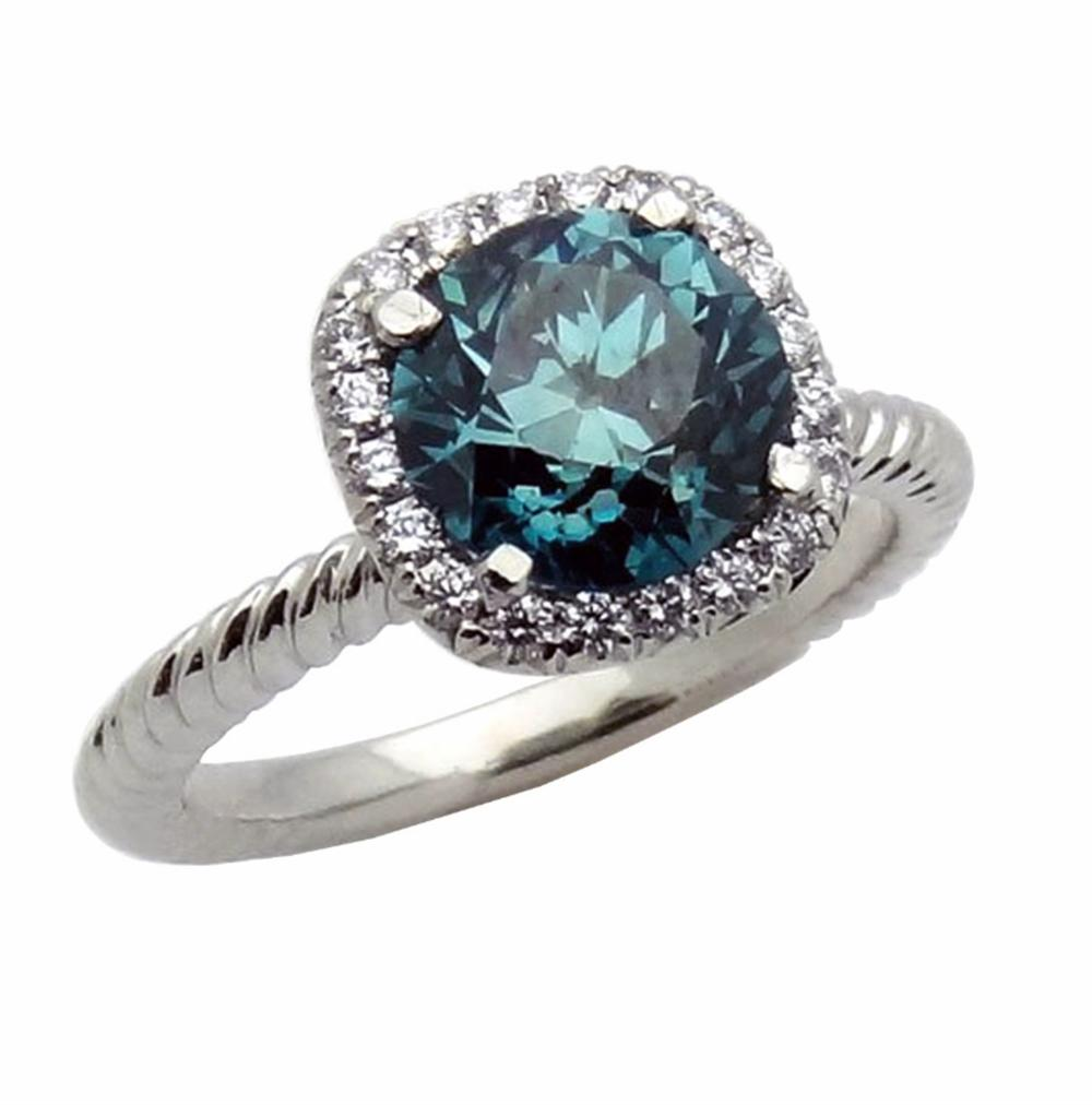 Fancy Blue Irradiated Diamond Platinum Ring Size 6