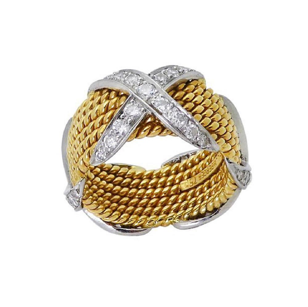 Tiffany & Co Schlumberger X Diamond 18k Ring