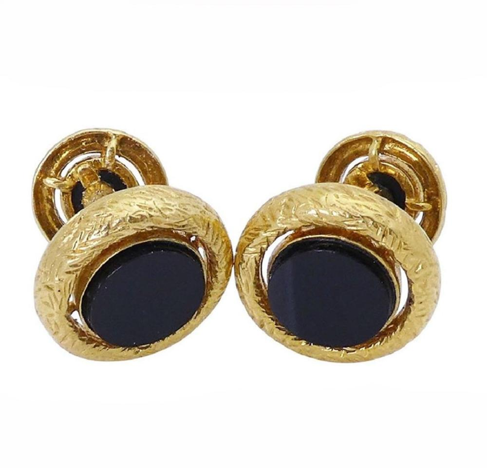 Van Cleef & Arpels  18k YellowGold Black Onyx Cufflinks