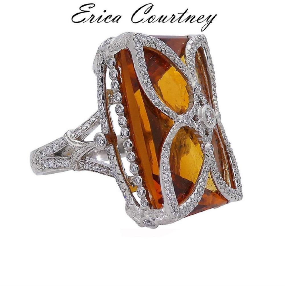 Erica Courtney Platinum Diamond Citrine Quartz Ring