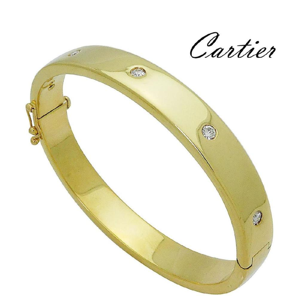 Cartier 18k Yellow Gold Brilliant Diamond Bangle