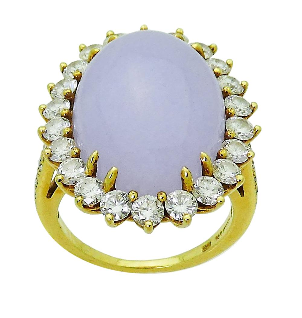 Tiffany & Co 18k Gold Lavender Jade & Diamond Ring