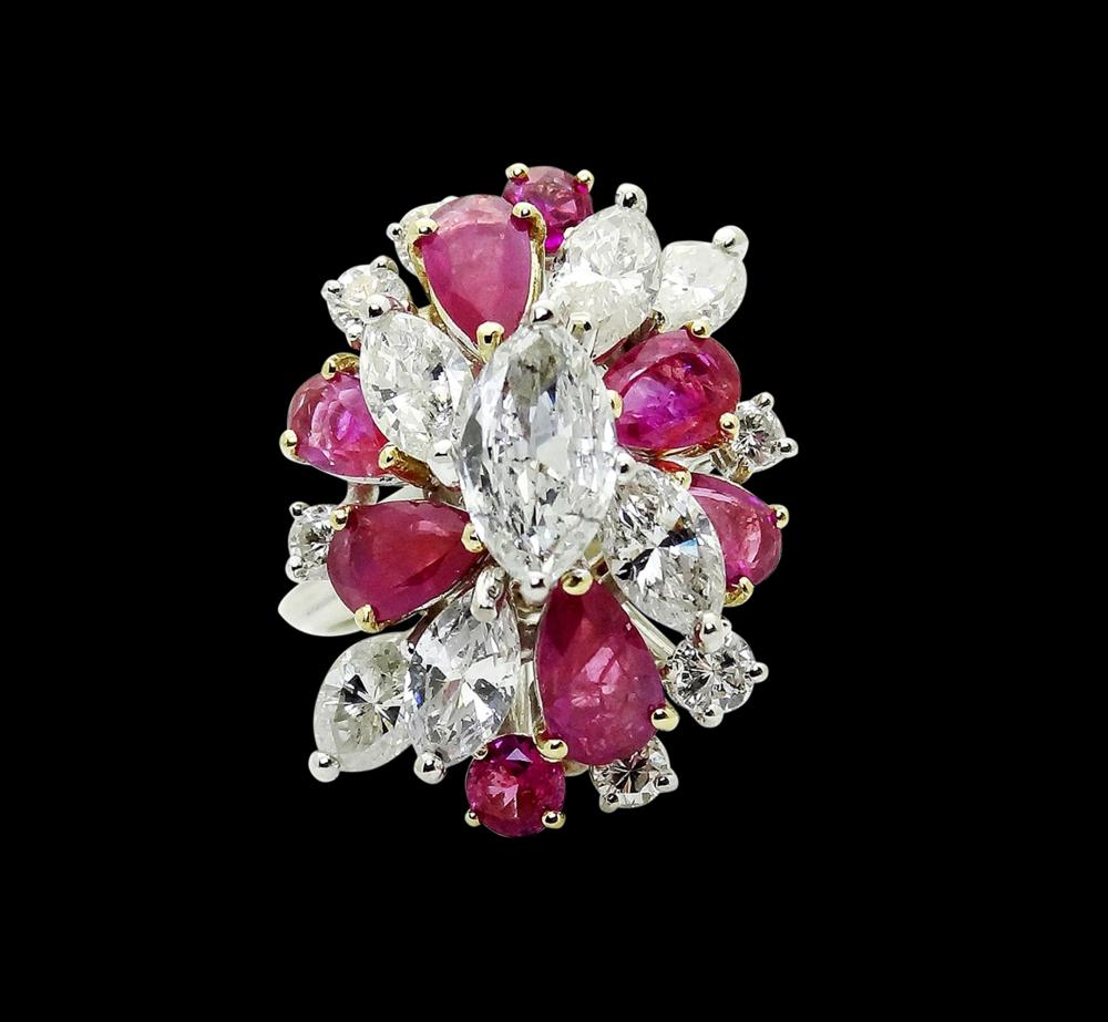 18k & 6.50TCW Marquise Diamond Pear Ruby Cluster Ring