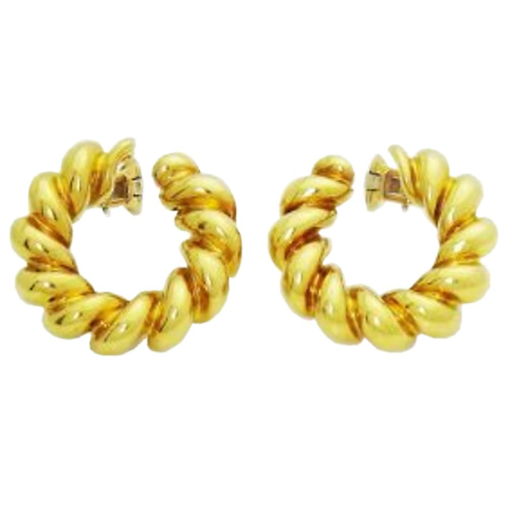Estate Cartier 18k Yellow Gold Clip On Hoop Earrings