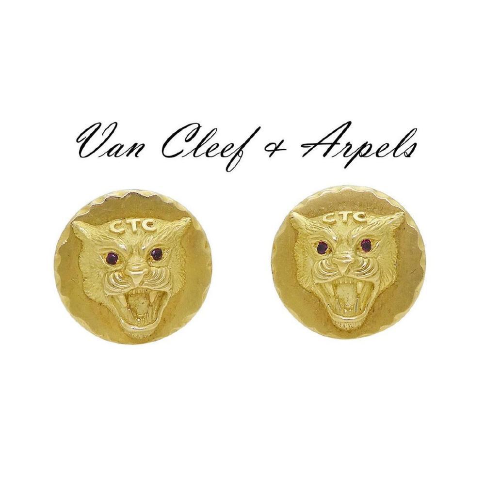 Van Cleef & Arpels 18k Tiger Face Ruby Eyes Cufflinks