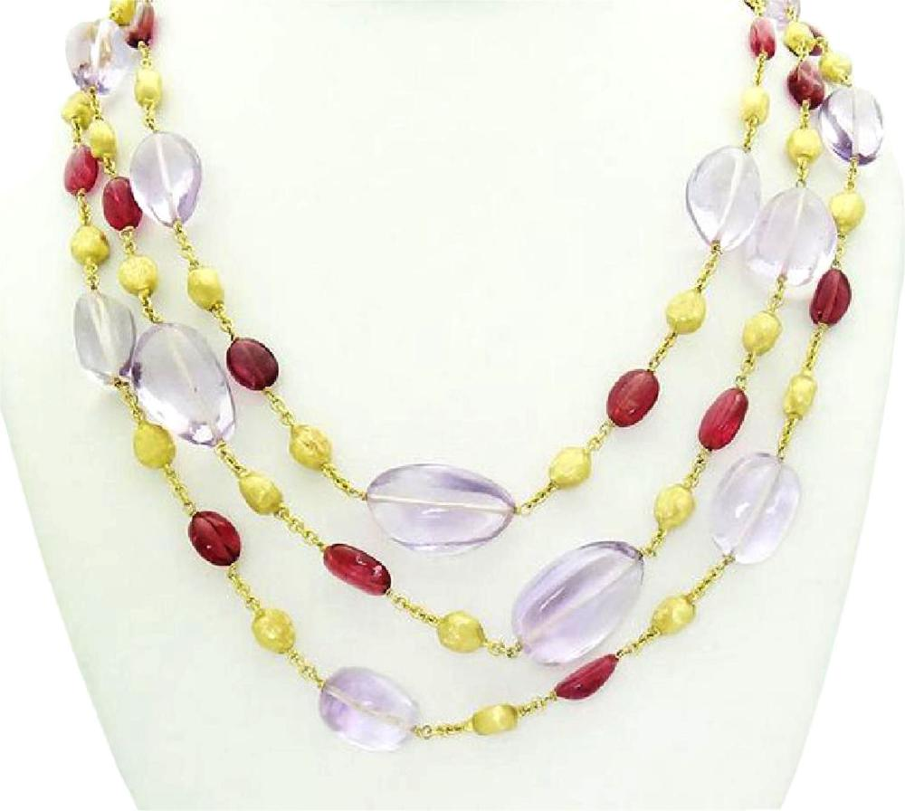 Marco Bicego 18k Yellow Gold Three Strand Amethyst 23""
