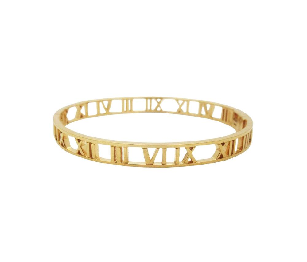 TIFFANY & Co 18k Gold Atlas Open Bangle Bracelet