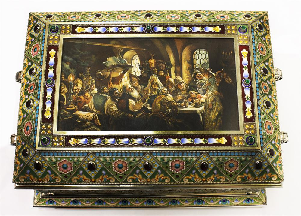 Huge Russian Silver, Enamel Miniature Painting Box
