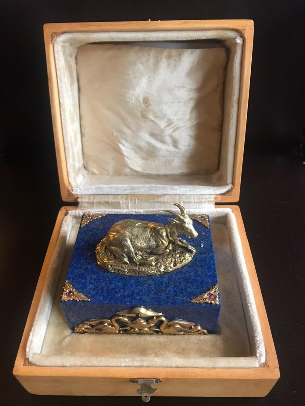 RUSSIAN LARGE GOAT SILVER LAPIS BOX WITH STONES