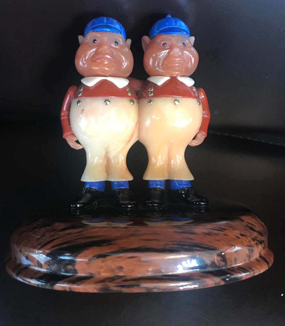 Russian Hard Stone Figurines Tweedledee & Tweedledum