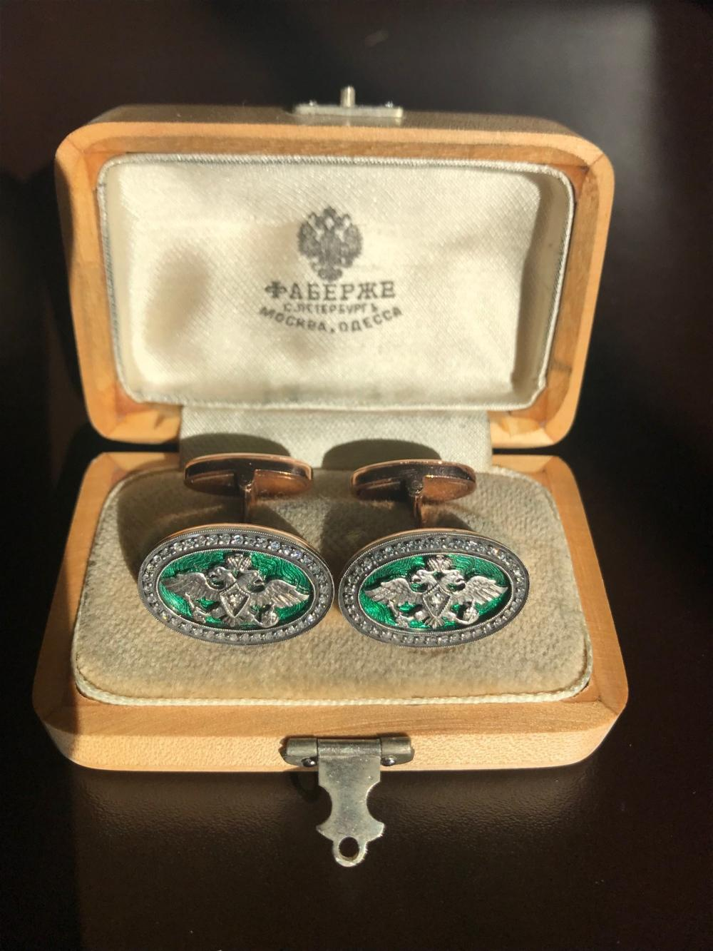 Russian Enamel Oval Green Gold Diamond Cufflinks