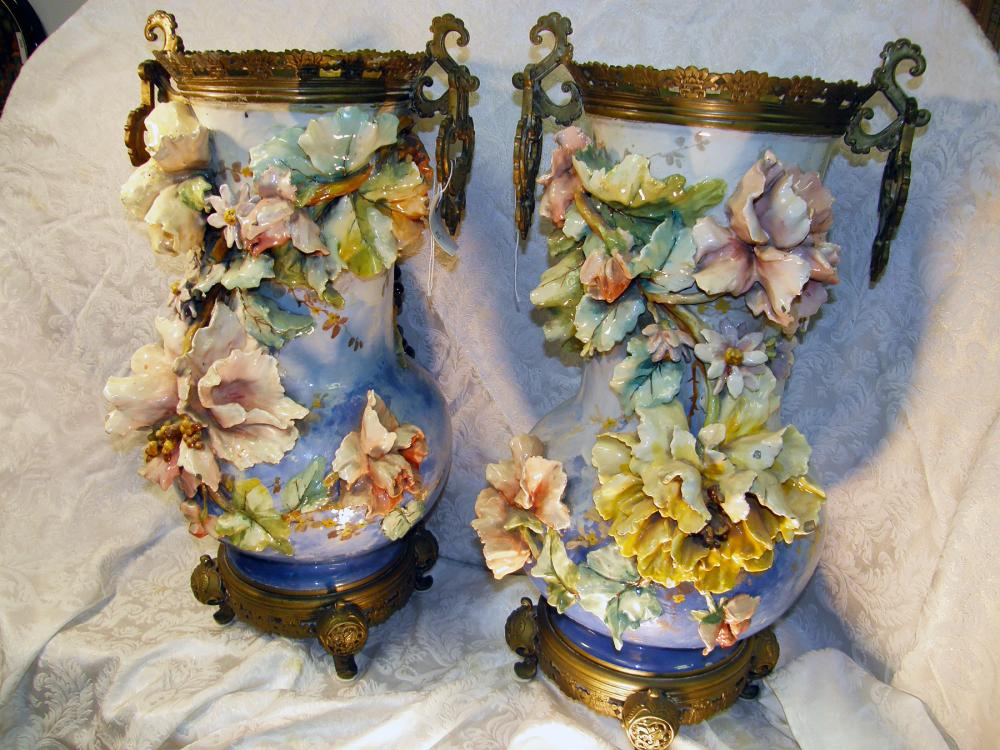 Pair Of Very Rare Antique Palace Size Barbotine Pottery Majo