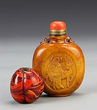 Chinese Carved Stone Snuff Bottle and Agate Bead