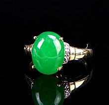 Chinese Jadeite 10K Gold Ring