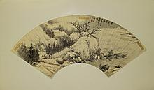 Chinese Fan Painting Landscape Signed Xue Shi
