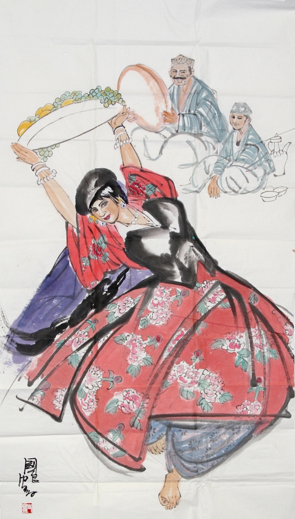 Chinese Scroll Painting of Dancing Lady
