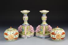 Pair of Chinese Famille Rose Candle Sticks