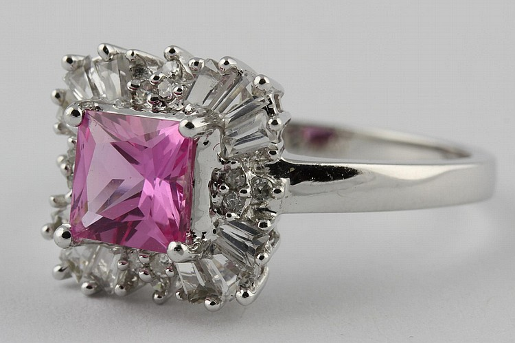 Chinese White Gold and Ruby Ring