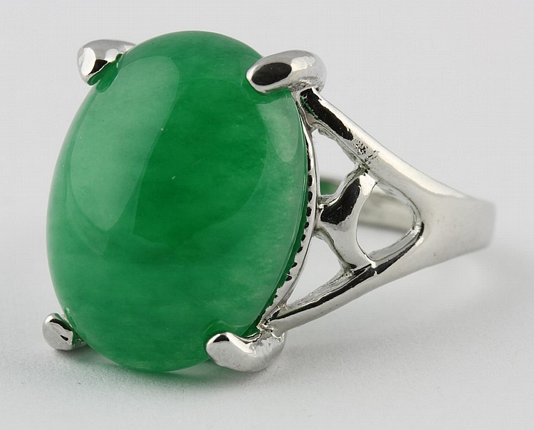 Chinese White Gold and Jadeite Ring