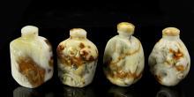 Four Chinese Shoushan Stone Snuff Bottles