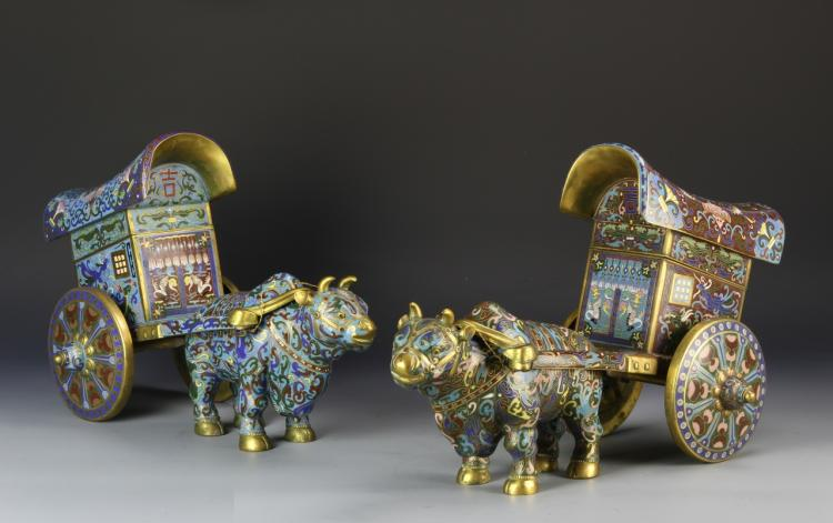 Pair of Chinese Cloisonne Cow and Cart