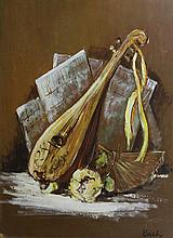 American Oil Painting of Lute, Signed Bach