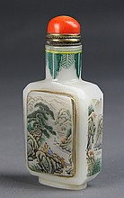Chinese Peking Glass Snuff Bottle with Coral