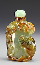 Chinese Carved Jadeite Snuff Bottle