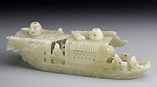 Chinese Carved Jade Boat