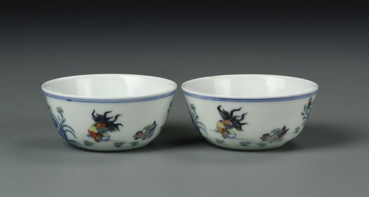 Pair of Chinese Doucai Chicken Cups