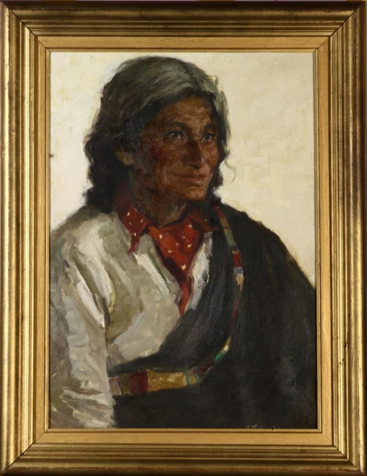 Chinese Oil On Canvas of Tibetan Woman