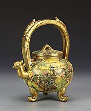 Chinese Enameled Yixing Tea Pot