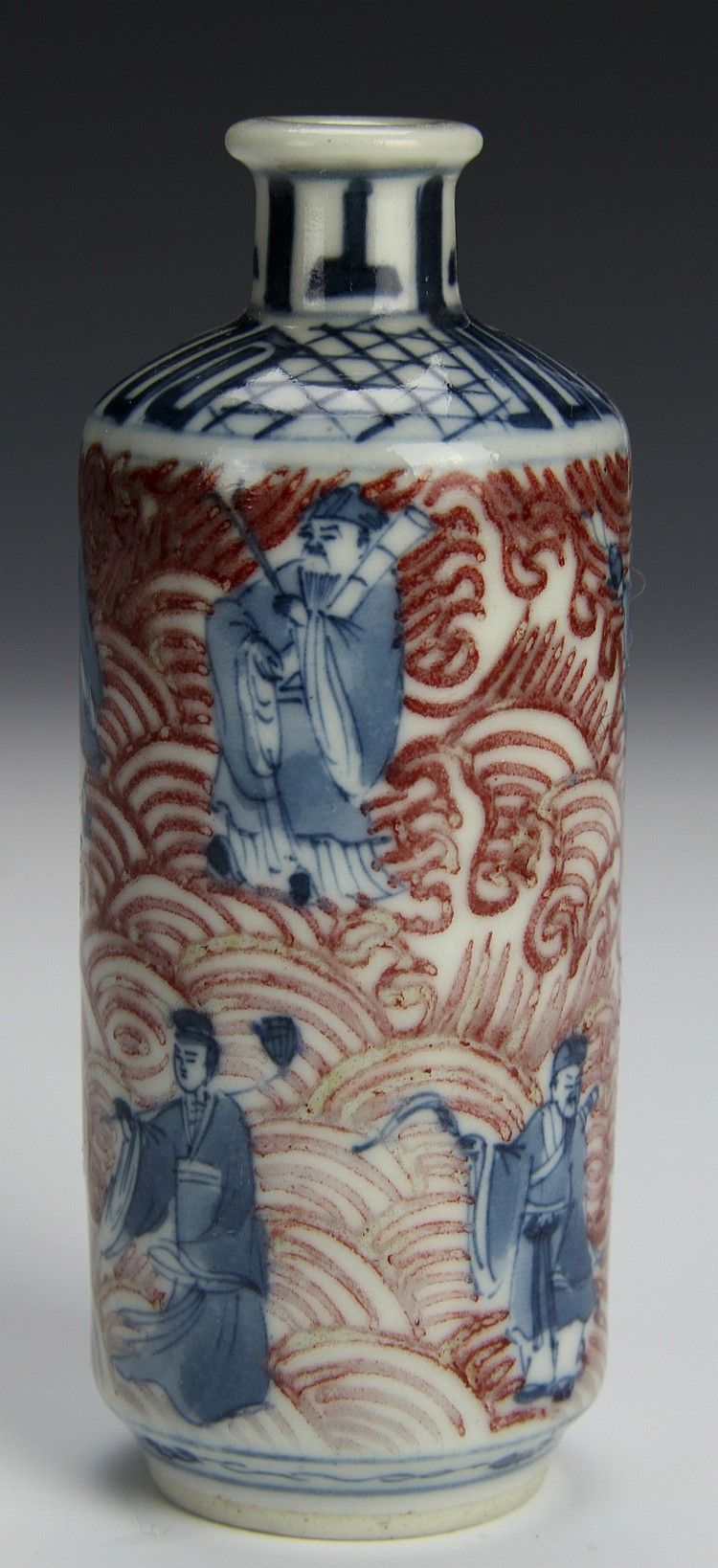 Chinese Blue and Red Snuff Bottle