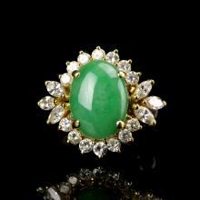 Chinese Jadeite Gold and Diamond Ring