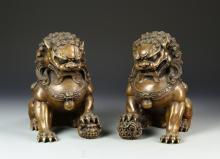 Pair of Chinese Bronze Foo Dogs