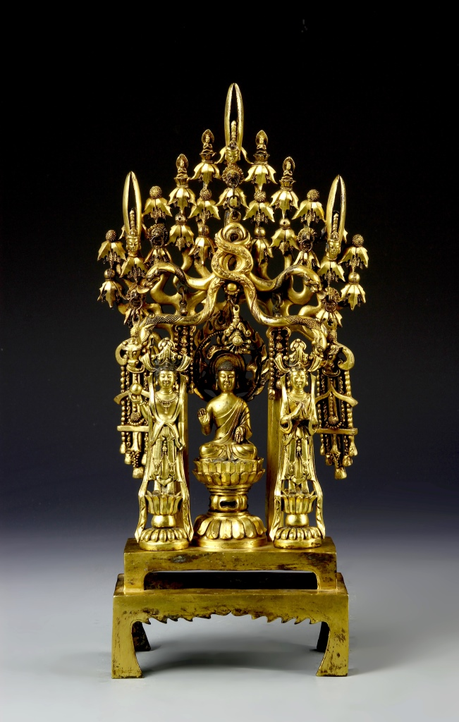Chinese Gilt Buddha Group