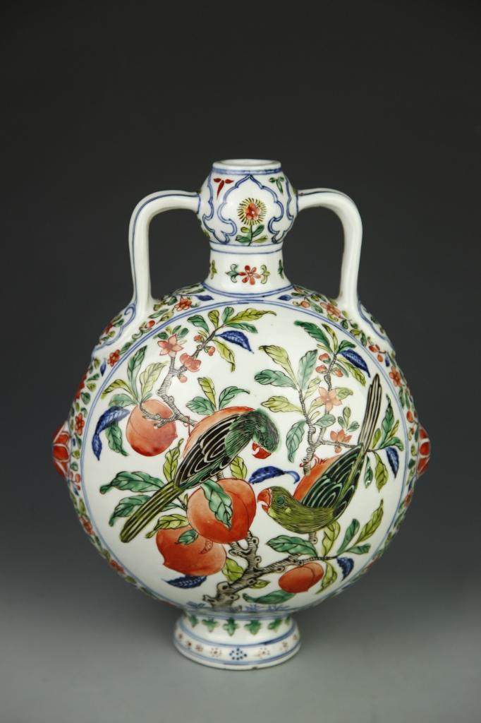 Chinese Wucai Moon Flask Vase