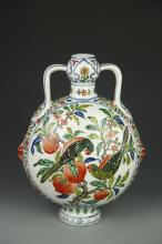 Chinese Antique Wucai Moon Flask Vase