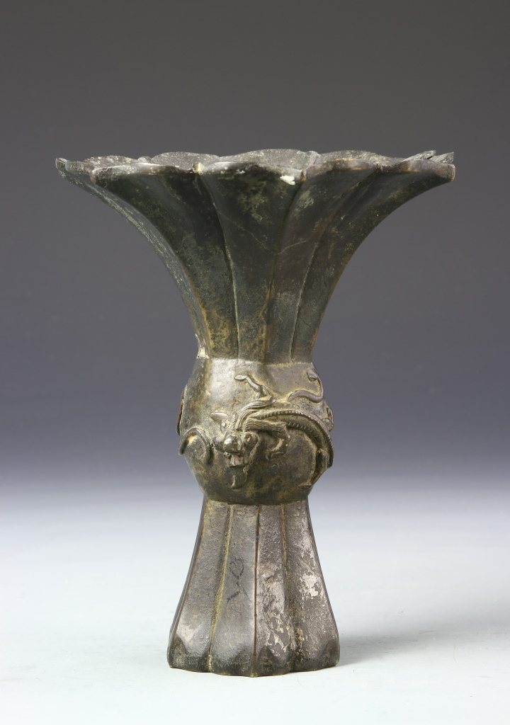 Chinese Bronze Dragon Gu Vase
