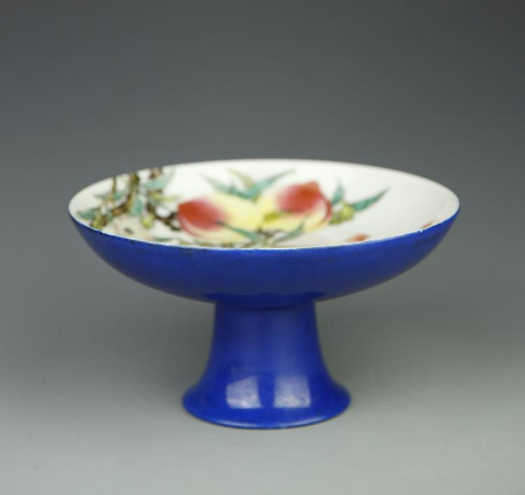 Chinese Blue Glazed High Stem Plate