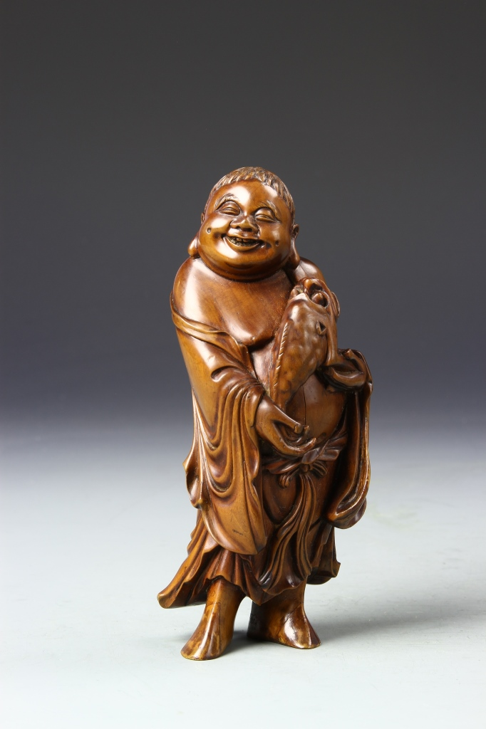 Chinese Box Wood Liuhai Figure