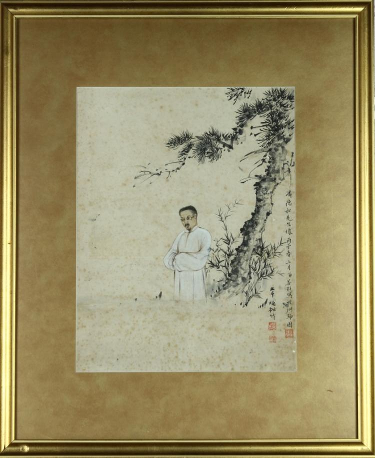 Zhang Da Qian And Zhang Shan Zhi Figure Painting