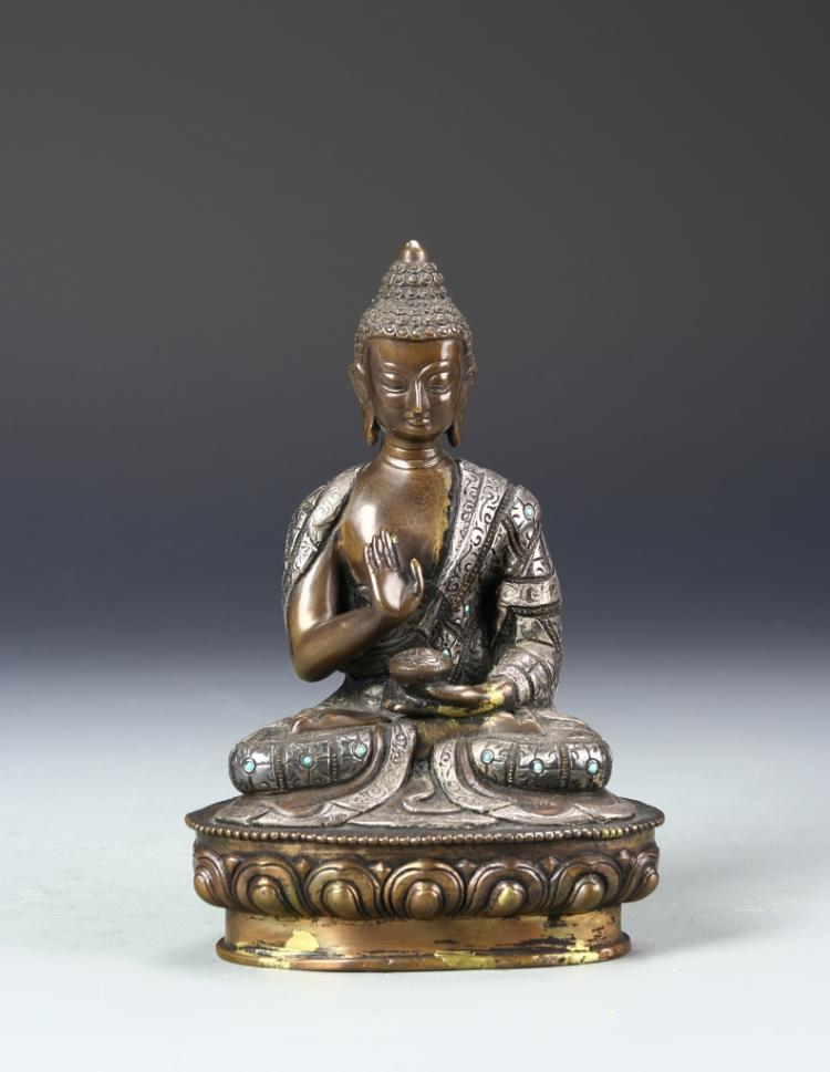 Chinese Bronze And Silver Buddha