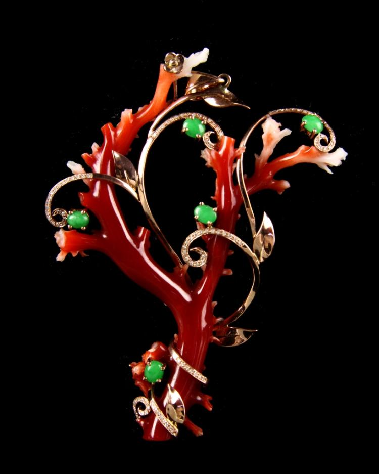 Chinese Tree with Jadeite and Gold