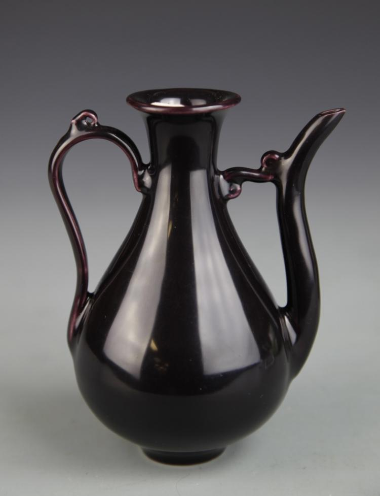 Chinese Purple Glazed Wine Pot