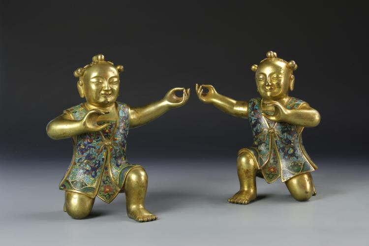Pair Of Chinese Cloisonne Boys